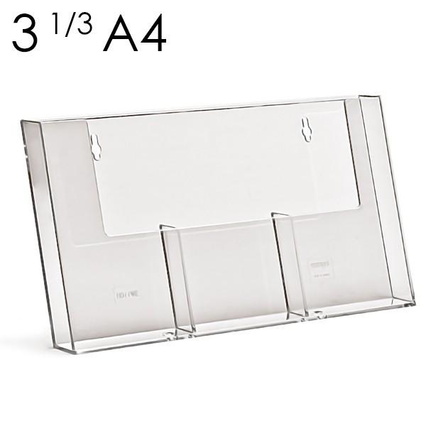 Porta depliant 1/3 A4, con tre tasche affiancate