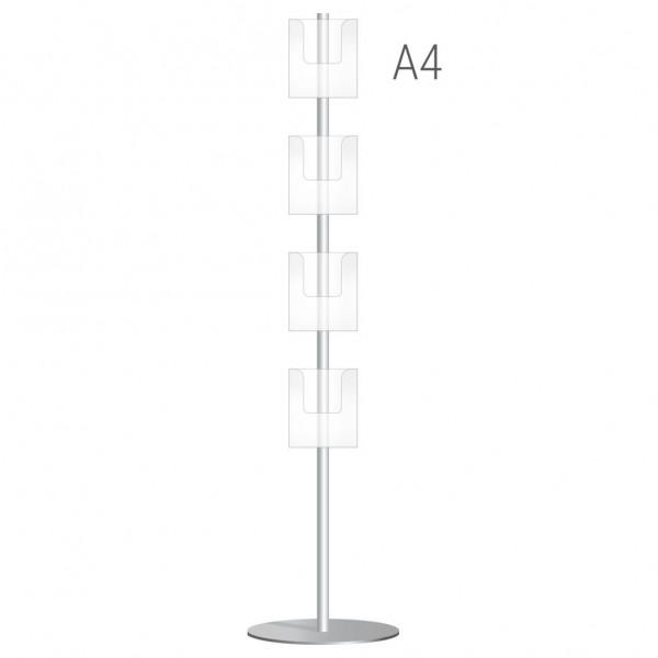 Espositore portadepliant BIFACCIALE con 8 tasche A4 - H 160 cm
