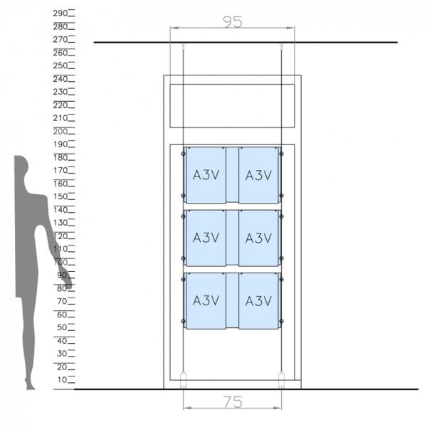 tasche portavvisi in plexi per vetrine con sistema a cavetto