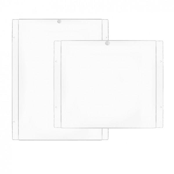 tasche porta avviso in plexiglass per vetrine sistema a cavetto
