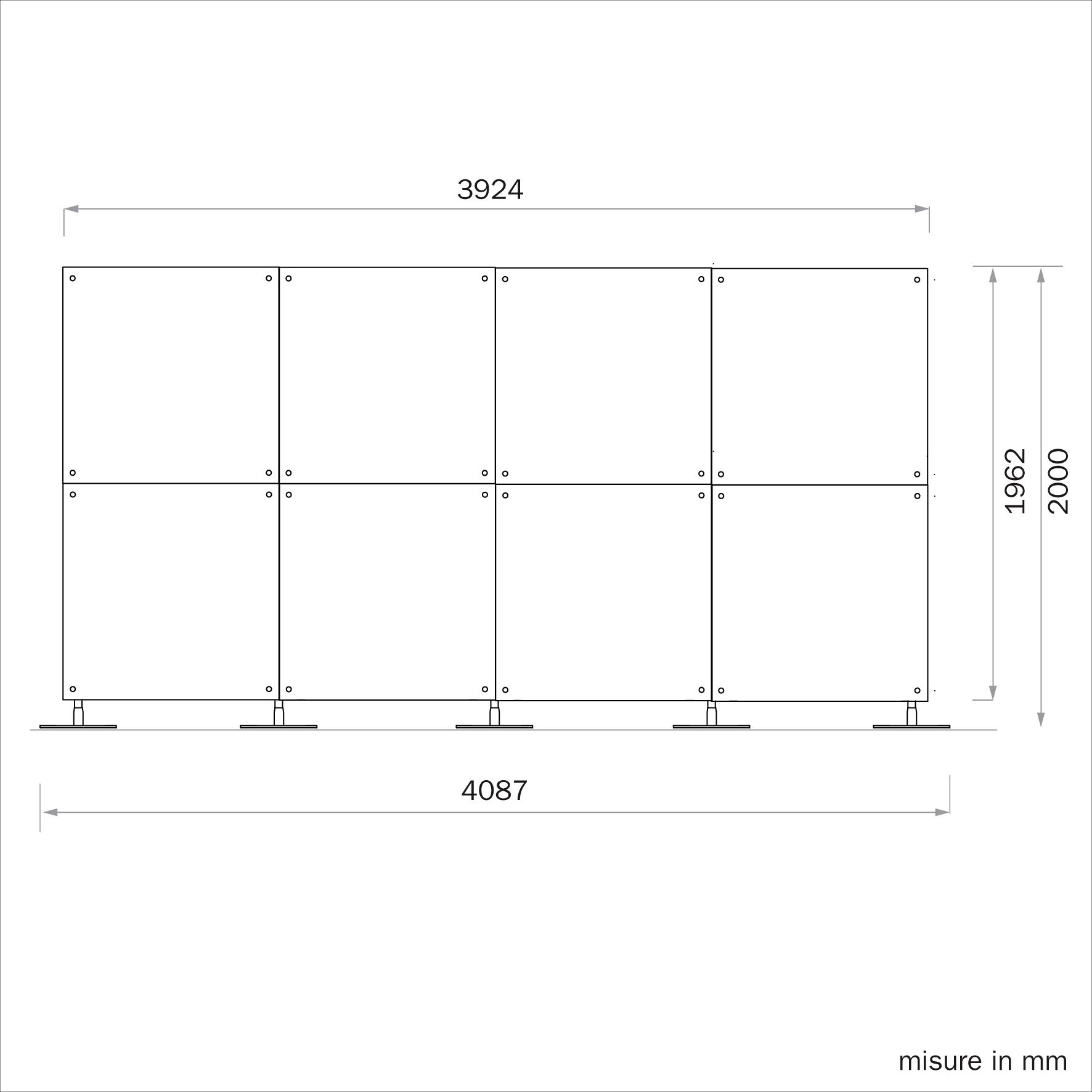 parete divisoria 4x2