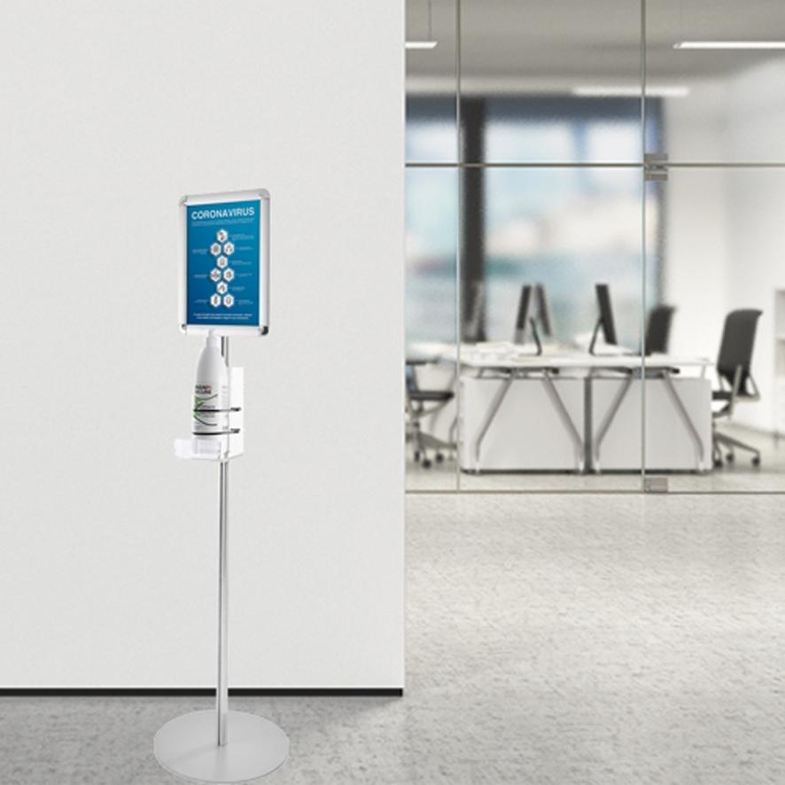 Porta dispenser igienizzante per le mani. Porta dispenser da parete o da terra.