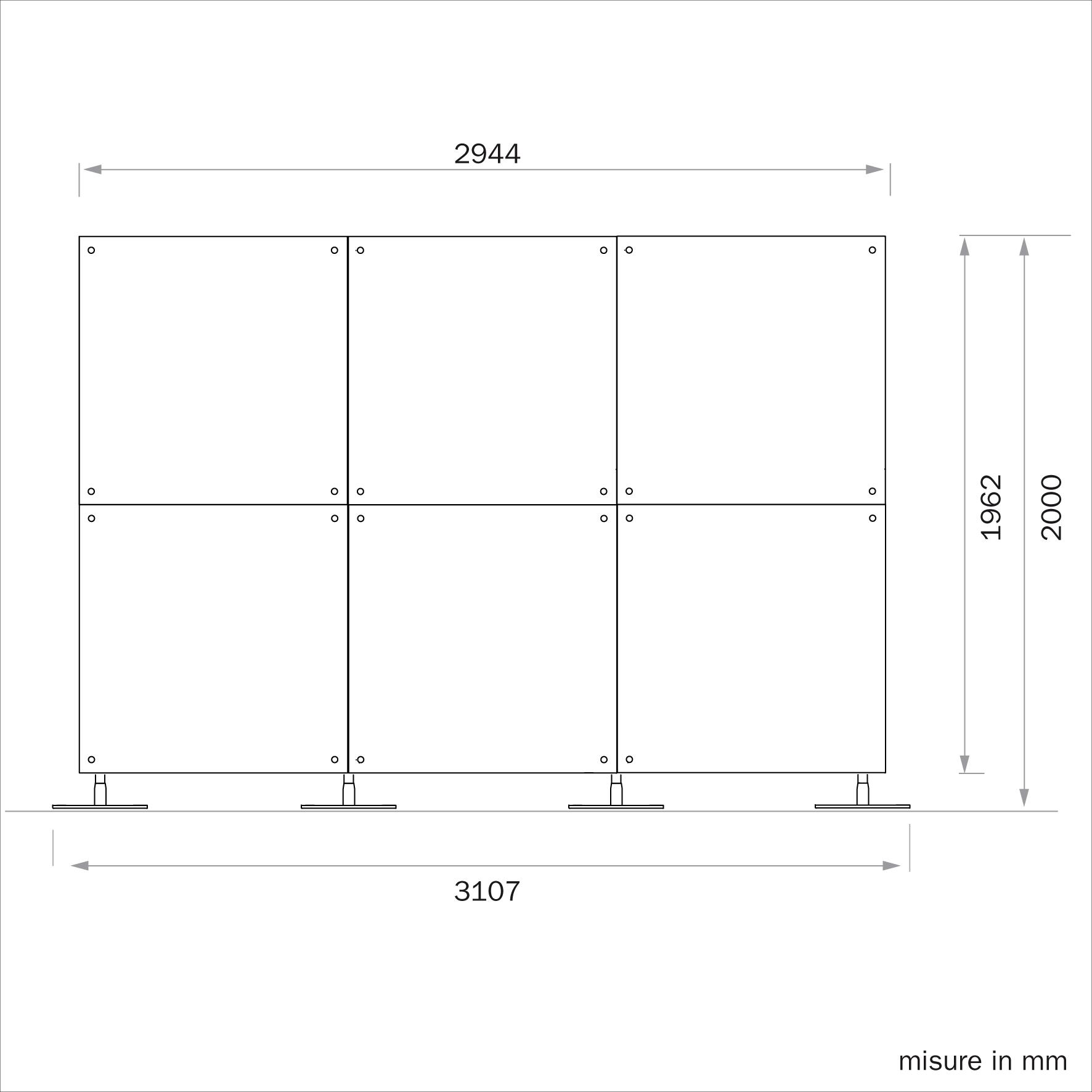 parete divisoria mobile 3x2