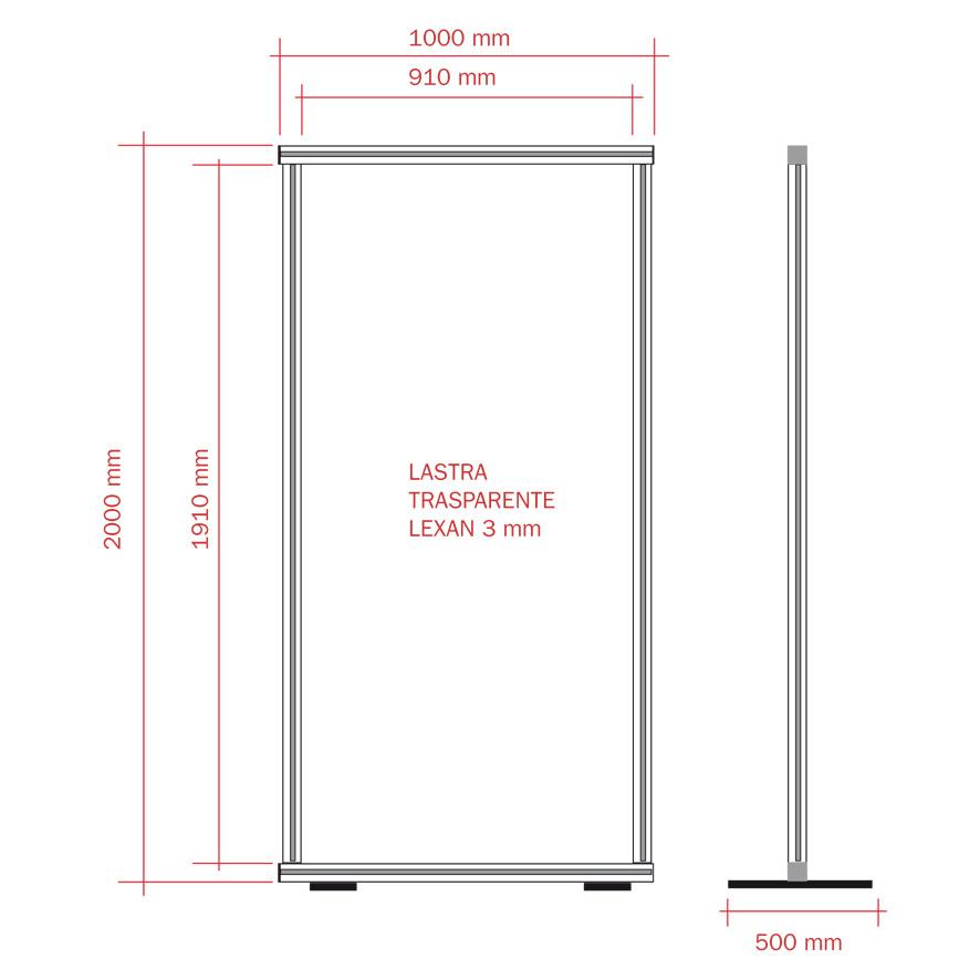 Parete divisoria 100x200 con lastra trasparente in Lexan® 3 mm di spessore