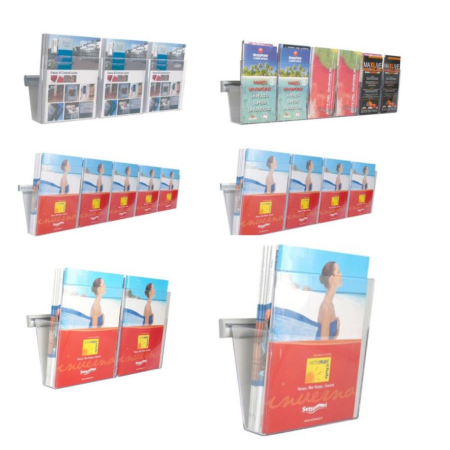 Porta cataloghi da parete con tasche in plexi.