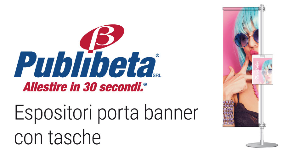 Espositori pubblicitari autoportanti con banner pvc e tasca porta depoliant