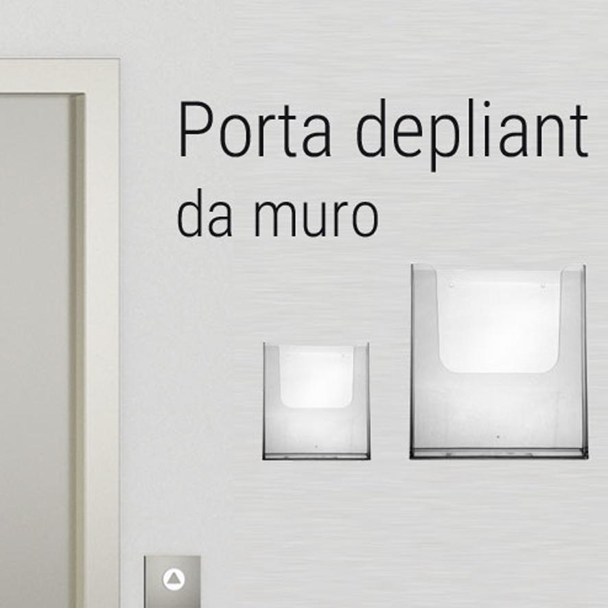 Porta depliant, porta cataloghi, da muro. Portadepliant in plexi con tasca singola o tasca sovrapposta.