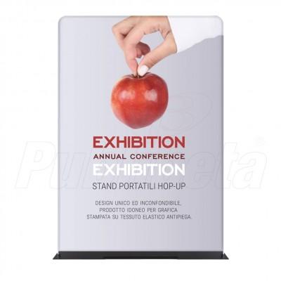 Totem pubblicitario portatile bifacciale 100x240 con stampa in tessuto elastico antipiega