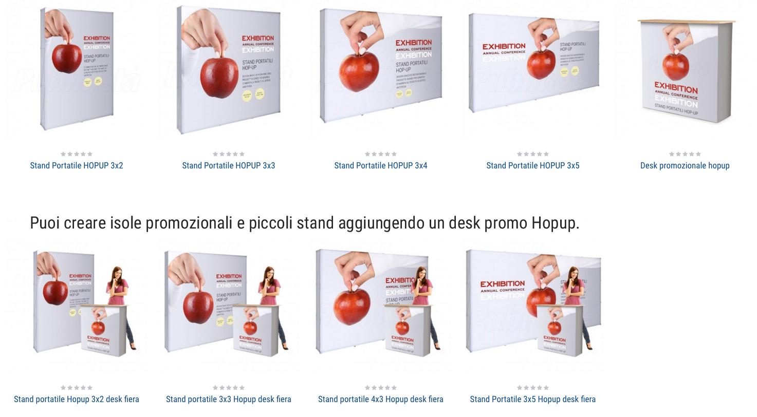 Isole promozionali con stand portatili per fiera e desk promozionale hopup