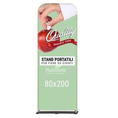 Totem pubbliciitario portatile 80x200 bifacciale con stampa su tessuto elastico antipiega