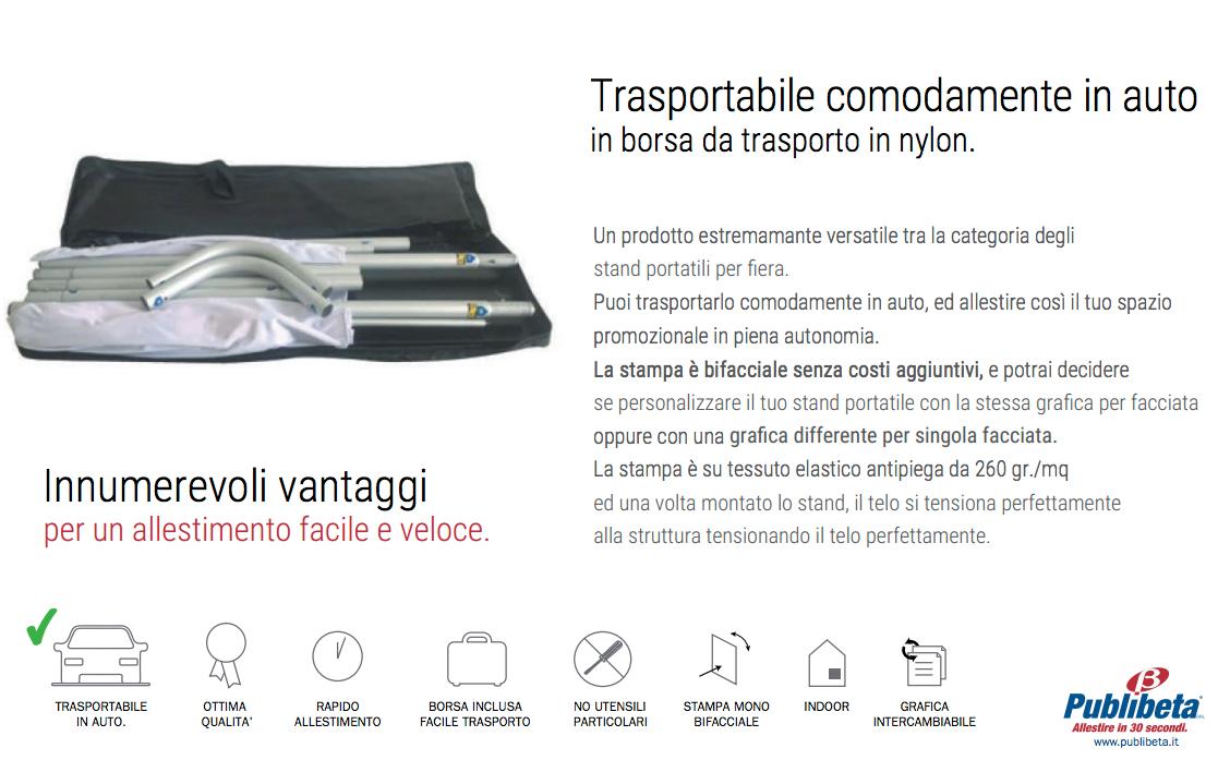 stand trasportabili richiudibili in comoda borsa