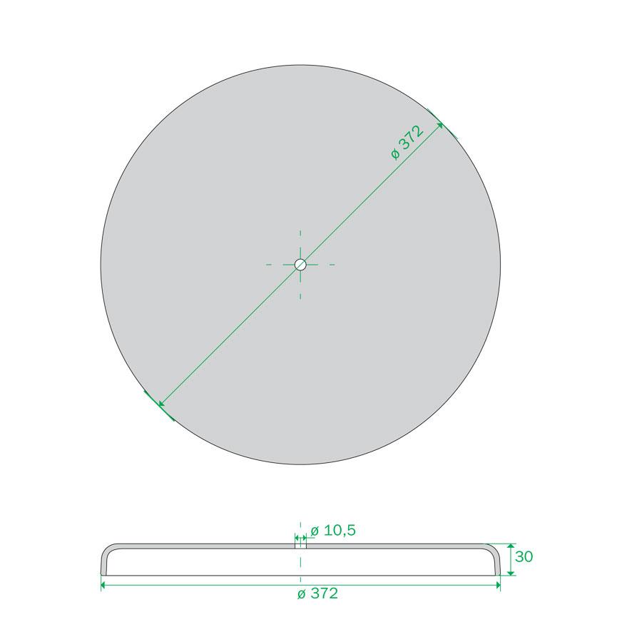 piastra base 372 mm