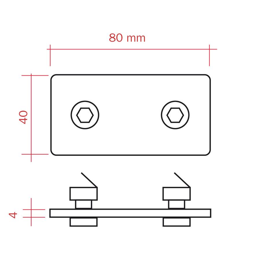 piastra di collegamento tra pannelli divisori 100x200