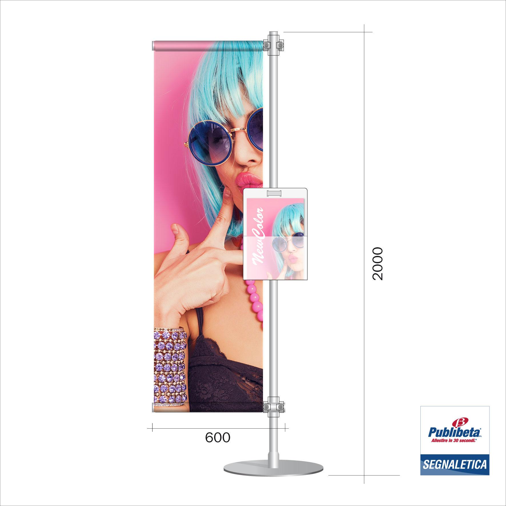 Porta banner PVC con tasca porta depliant formato A4