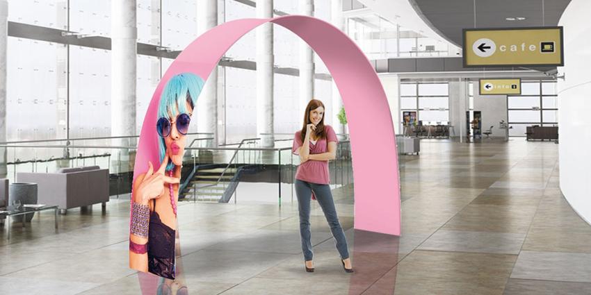 Stand portatili a forma di arco per fiere, eventi, negozi, isole promozionali.