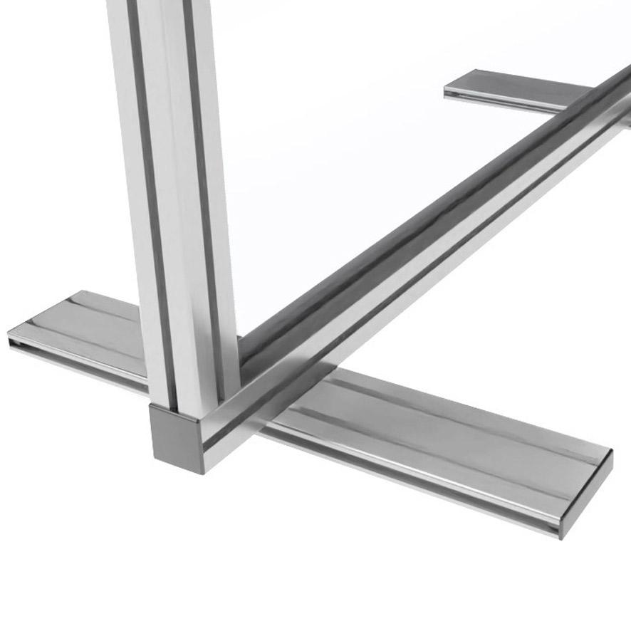struttura pannello divisorio con profilo di alluminio a sezione quadrata 45x45 mm.
