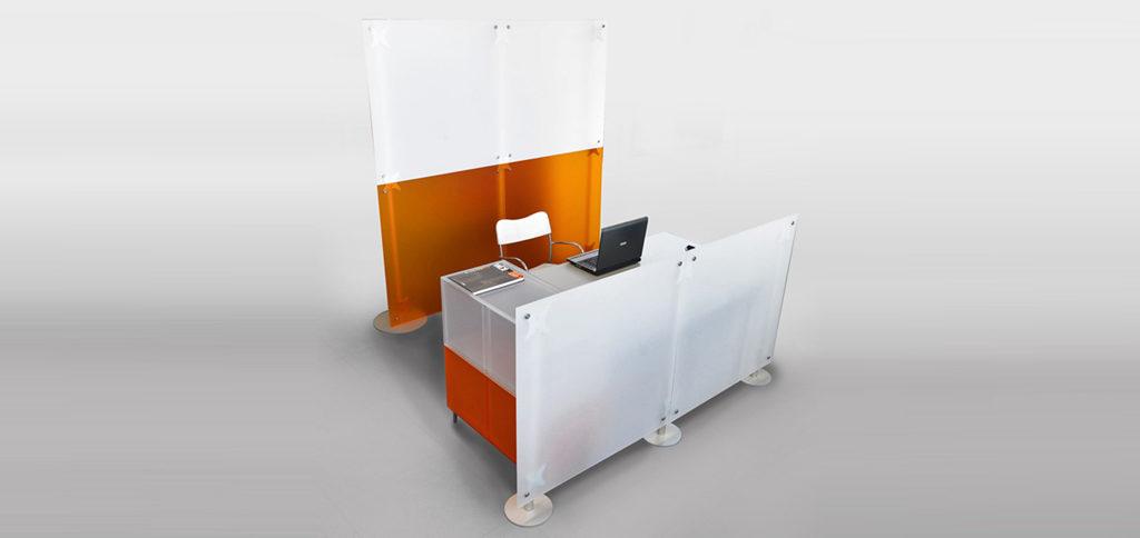 pareti divisorie per creare zone reception per studi professionali, hotel, uffici, e punto vendita