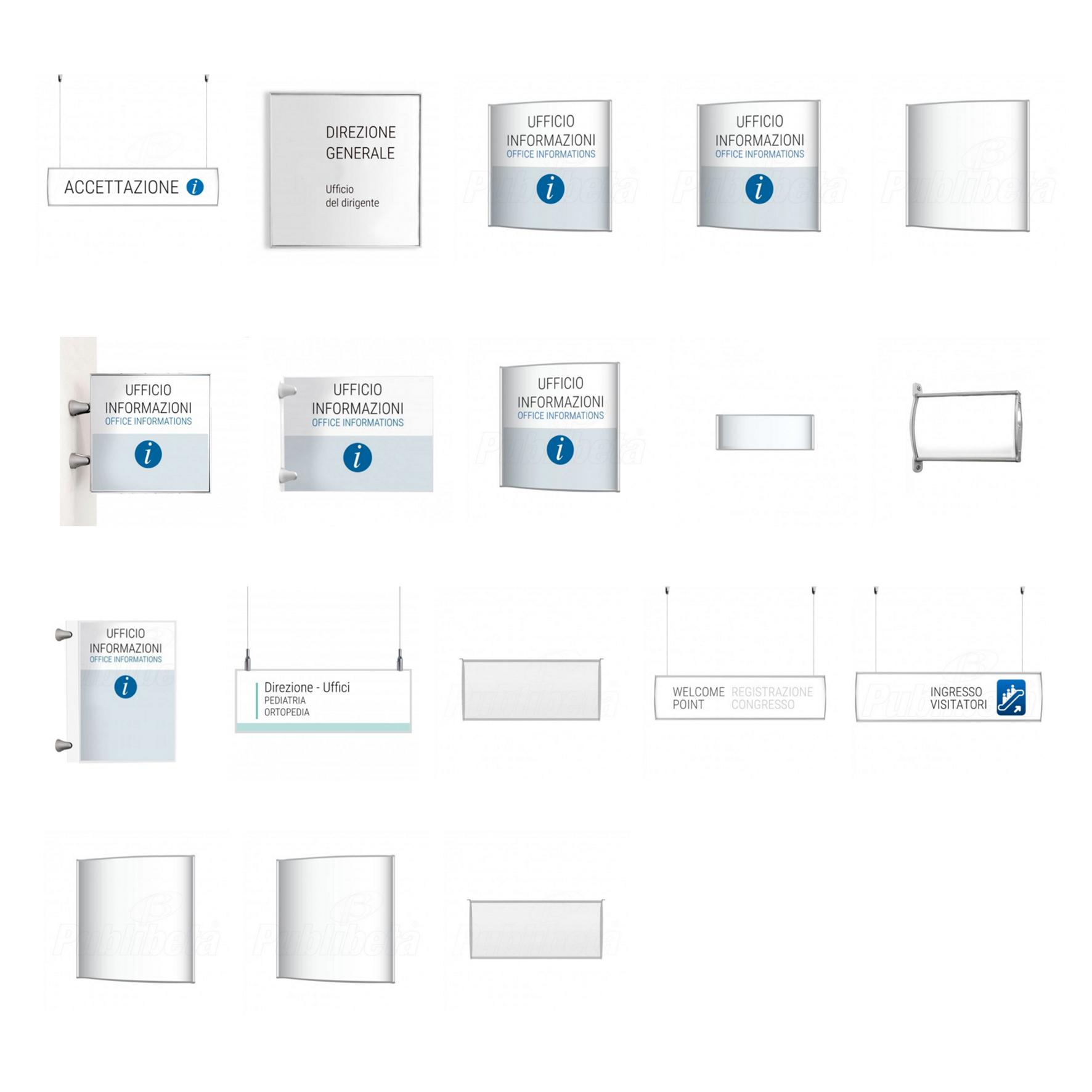 Targhe da muro, segnaletica per interno. Segnaletica aziendale, targhe per uffici con grafica intercambiabile.