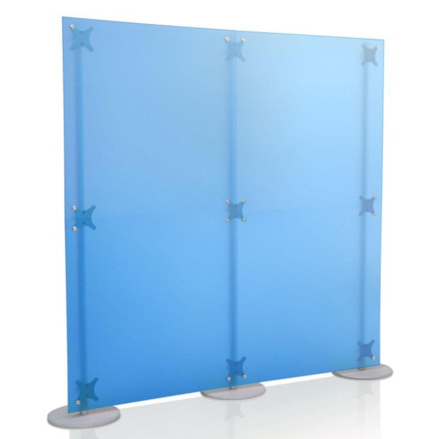 Parete divisoria in plexiglass con pannelli in PMMA colore blu