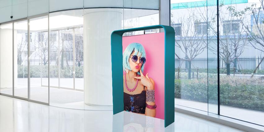 """Stand portatili per fiera modello """"ACTION"""". Stand fieristici innovativi. Stand pubblicitari con sistema a pannelli e stampa in tessuto."""