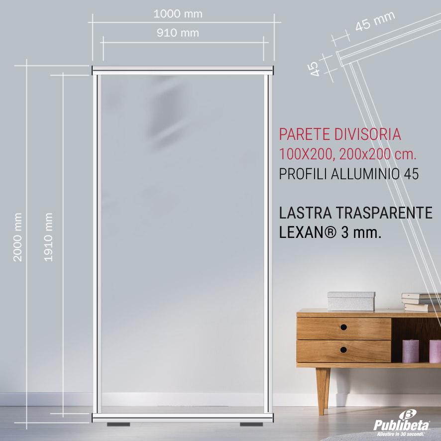 pannello divisorio con lastra trasparente in Lexan® spessore 3 mm