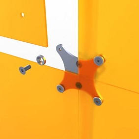 sistema di connessione pannelli plexi FLOSTAND per creare pareti divisorie