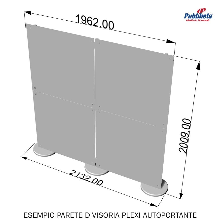 parete divisoria in plexiglass 2x2 mt.