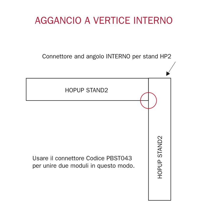 connettore ortogonale a vertice interno per stand hopup2