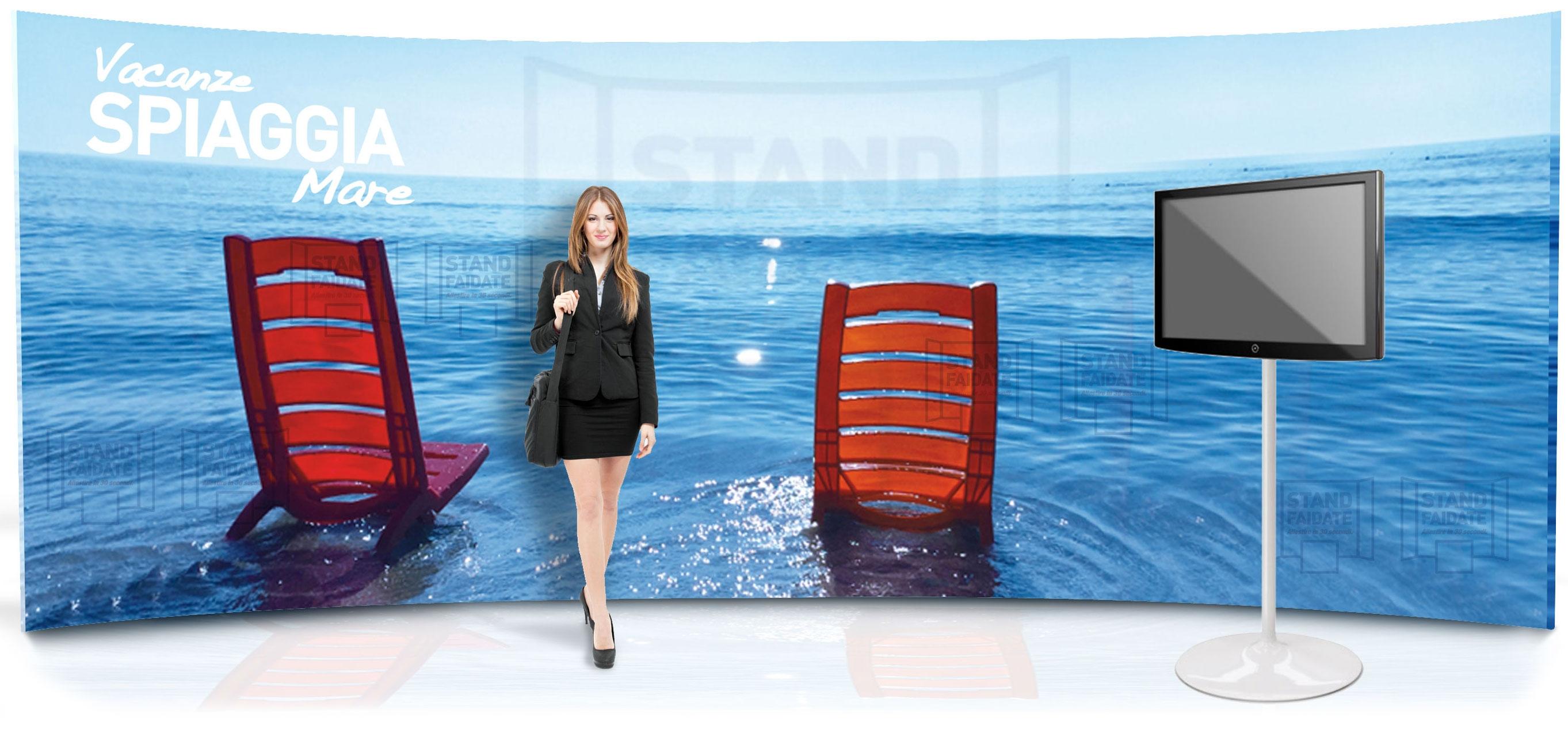 stand portatile curvo 6 metri, con porta monitor, per creare un isola promozionale