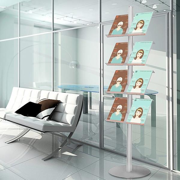 Espositore portadepliant porta catalogo da terra con 9 ripiani in lamiera microforata formato A4