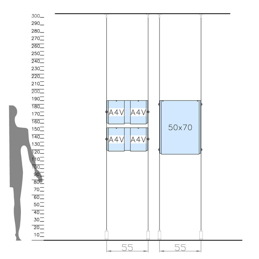 porta avviso in plexiglass per vetrina con sistema a cavetto